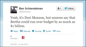 Tweet: Bertha's Budget Busted